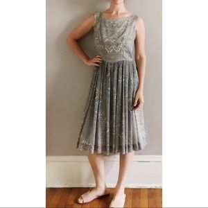 Vintage Italian 50s Cotton Summer Floral Dress